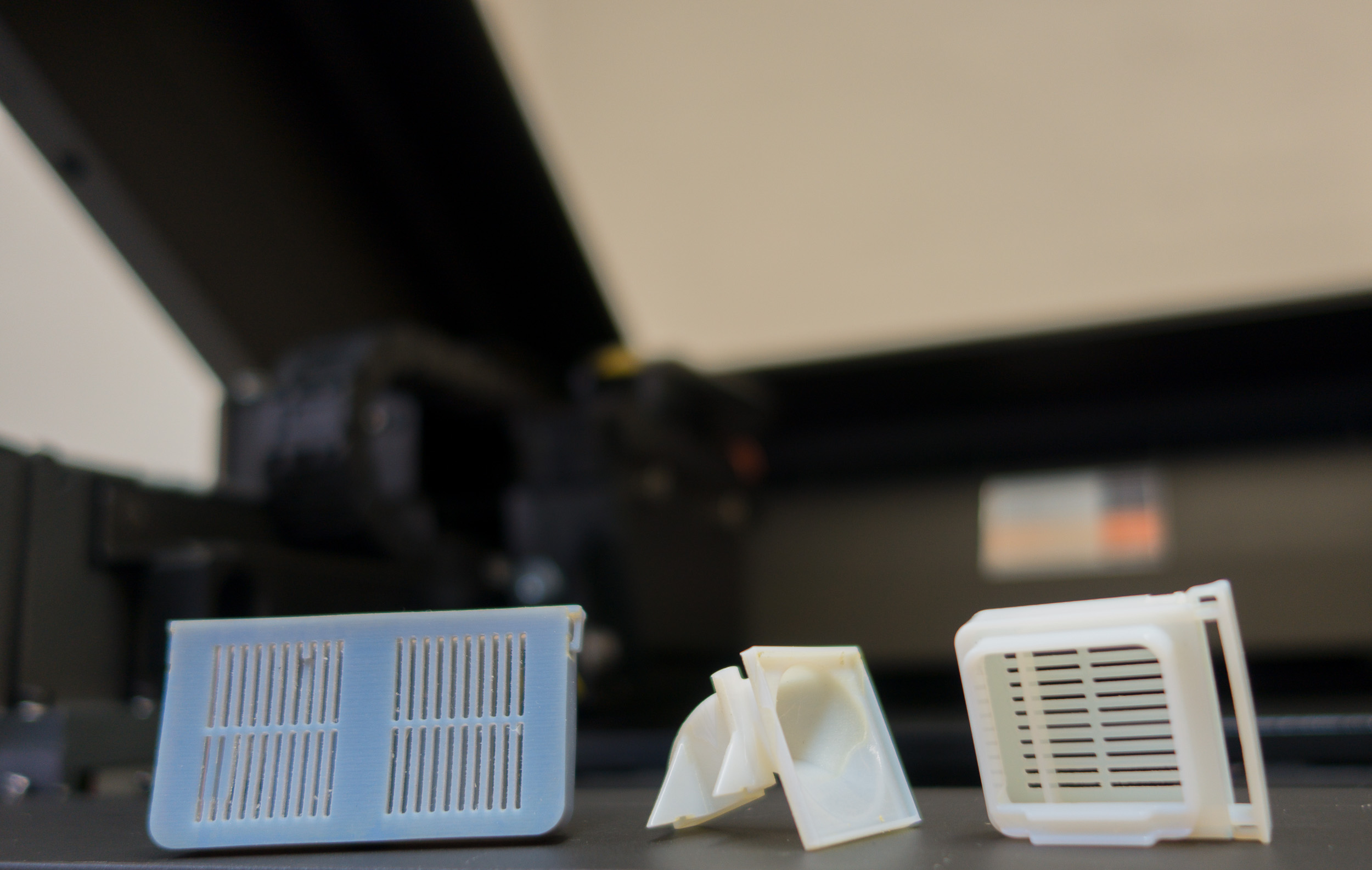 Ukázka vzorků materiálů pro 3D tiskárnu Objet