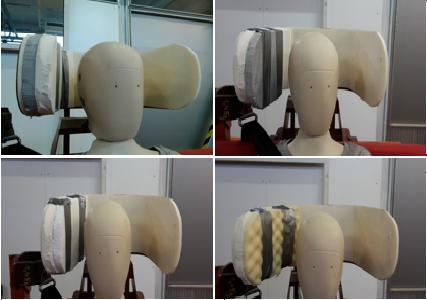 Sendvičové konstrukce a úhly rozevření opěrky byly průběžně optimalizovány na základě naměřených hodnost zrychlení v hlavě a hrudníku figuríny.