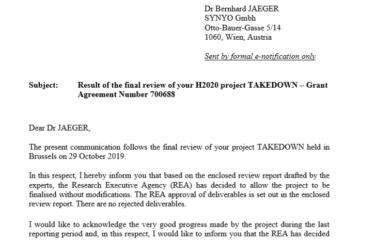 Projekt TAKEDOWN navržen jako Success Story programu Horizon 2020